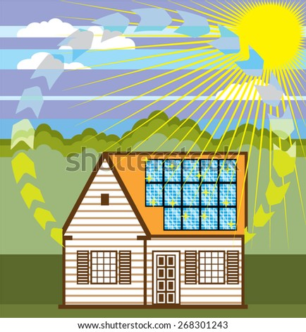 Solar Renewable Energy Eco Efficient Vector - stock vector