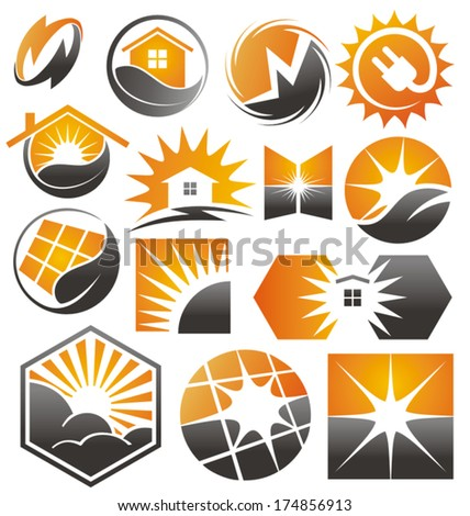 Solar symbols, icons and signs set - stock vector