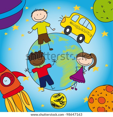 solar system and school with children, drawing. vector - stock vector