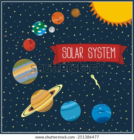 solar system illustration with planets and sun - vector solar system - stock vector