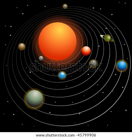 Solar system image isolated on a black background. - stock vector