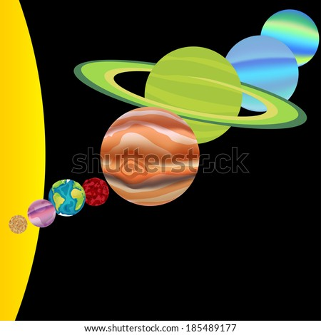 Solar system in vector with all planets - stock vector