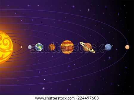 Solar system planets cartoon illustration - stock vector