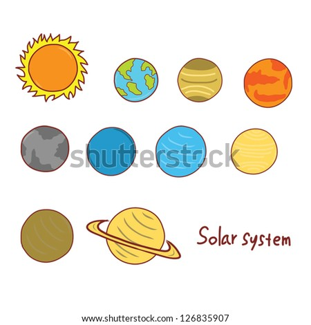solar system planets doodle - stock vector