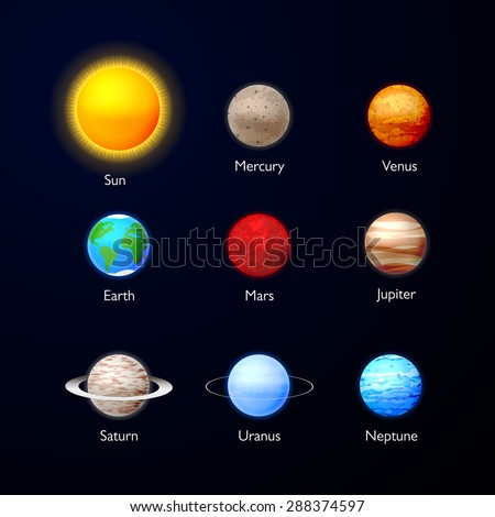 Solar system. Planets icons collection on dark sky. Set of planets - stock vector