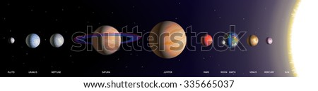 Solar System Planets. Vector illustration of the Planets of the Solar System on a black background with stars. Empty space leaves room for design elements or text. Background. Banner. Poster. - stock vector