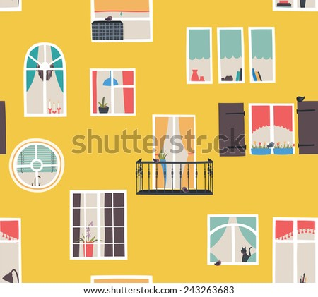 Solar urban seamless pattern with the city Windows. - stock vector