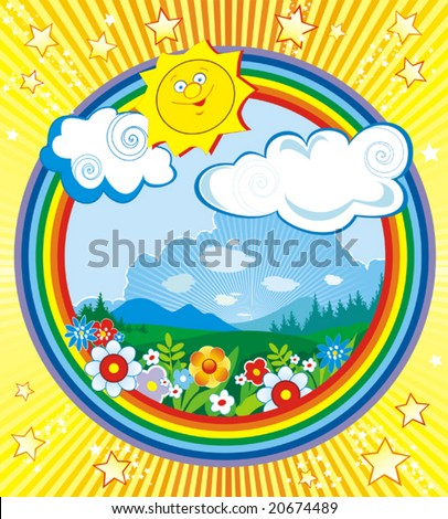 Solar vector illustration of a landscape with colorful flowers and trees in the summertime - stock vector