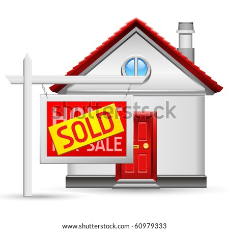 sold house icon - stock vector