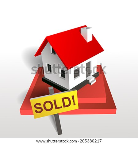 sold house red - stock vector
