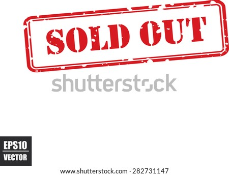 Sold out rubber red stamp  over a white background, vector illustration. Contains original brushes - stock vector