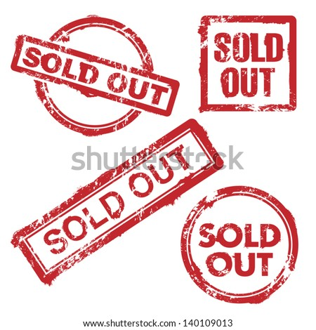 Sold out stamp - stock vector