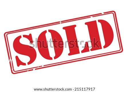 SOLD red rubber stamp vector over a white background. - stock vector