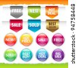 Sold Stickers And Ribbons, Isolated On White Background, Vector Illustration - stock vector
