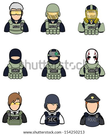 Soldier and police icon collection set 2, create by vector - stock vector