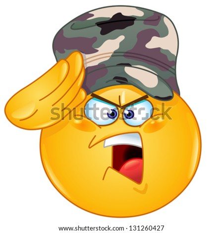 Soldier emoticon saluting saying yes sir - stock vector
