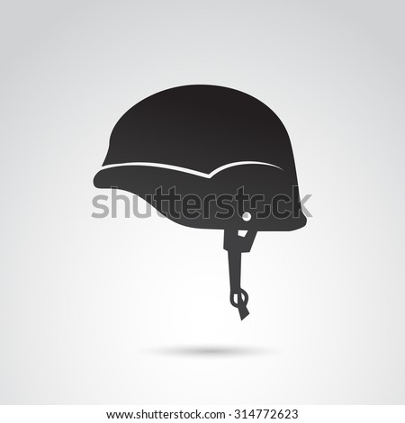 Soldier helmet icon isolated on white background. Vector art. - stock vector