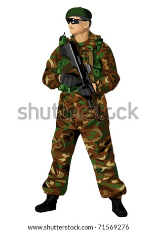 Soldier holding a rifle. Vector image with high detail - stock vector