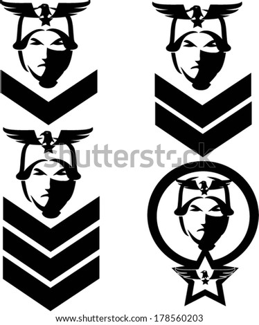 Soldier icon and rank insignia. - stock vector