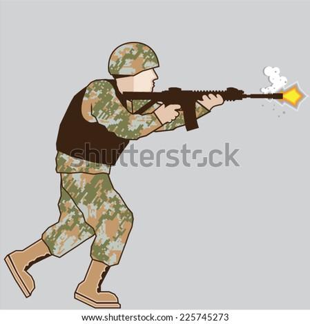 Soldier in action - stock vector