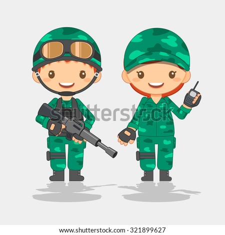 Soldier, man and woman - stock vector