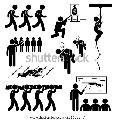 Soldier Military Training Workout National Duty Services Stick Figure Pictogram Icons - stock vector