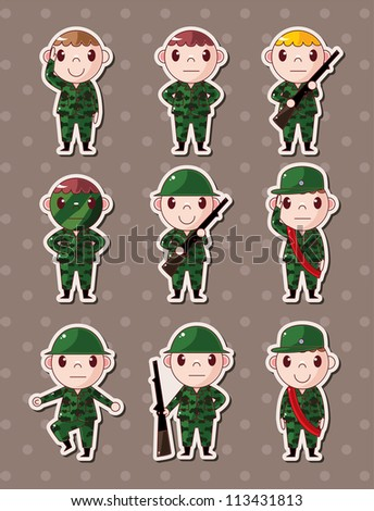 soldier stickers - stock vector