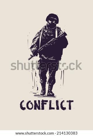 soldier.street art style. vector illustration - stock vector
