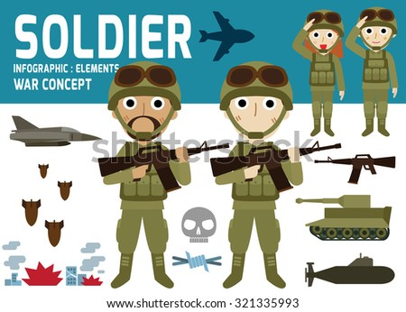 soldier vector.infographic elements.isolated on white and blue background.flat icons illustration. - stock vector