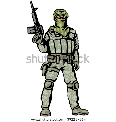 soldier with a gun and a digital camouflage and shemagh - stock vector