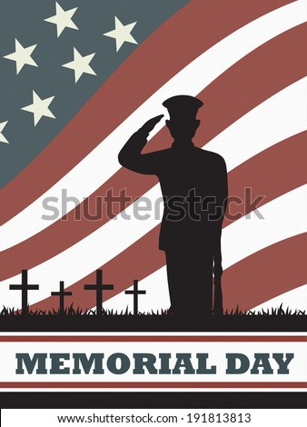 soldier with an american flag background in memorial day - stock vector