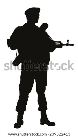 Soldier with rifle posing. Detailed vector silhouette - stock vector