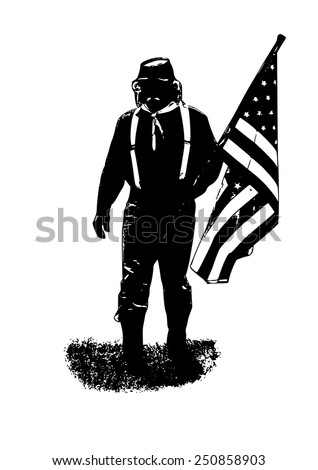 soldier with the flag of the American Civil War - stock vector