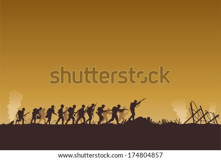 Soldiers fighting at war - stock vector
