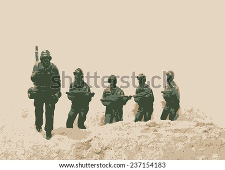 Soldiers in a field - stock vector