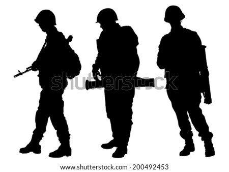 Soldiers in uniform with guns on white background - stock vector