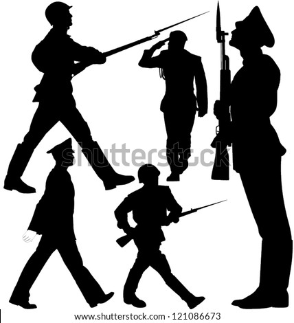 Soldiers marching and sentry guard vector silhouettes. Layered. Fully editable. - stock vector