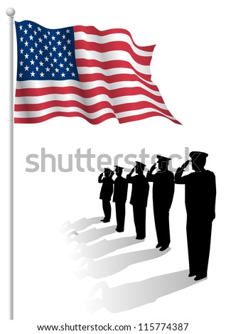 Soldiers saluting in front of an American flag. - stock vector