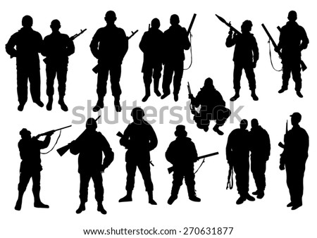 Soldiers Silhouettes Set - stock vector