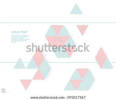 Solid Spring Colors Triangles Abstract Composition for Your Pamphlet Page Cover  - stock vector