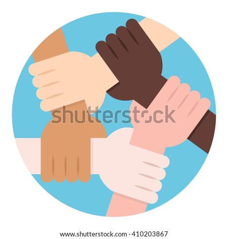 Solidarity Circle. Five Hands Holding Each Other as an Interracial Solidarity - stock vector