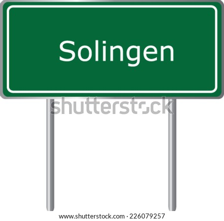 Solingen , Germany , road sign green vector illustration, road table - stock vector