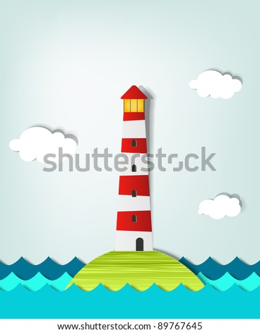 Solitary Island lighthouse - stock vector
