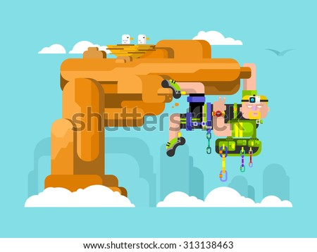 Solo climber. Extreme outdoor climb, risk mountaineer, camera and lead, clock and climbing shoes, backpack and quickdraw, carabiner and harness. Flat vector illustration - stock vector