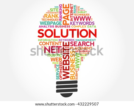 SOLUTION bulb word cloud, business concept - stock vector