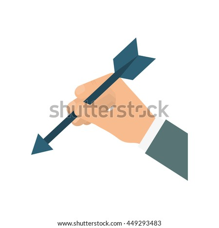 Solution concept represented by hand and arrow icon. isolated and flat illustration  - stock vector