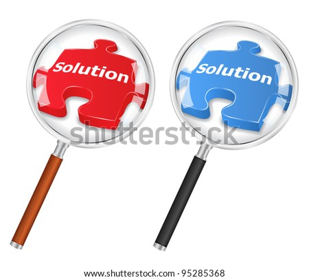Solution concept with magnifying glass and puzzle piece, vector eps10 illustration - stock vector