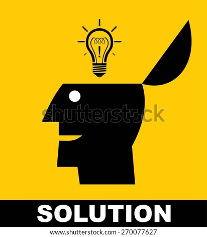 solution.show up your solution.  show up your idea.show up your potential. unlock your potential. Bright bulb appears from opened head icon. conceptual vector illustration of unlocking potential. - stock vector