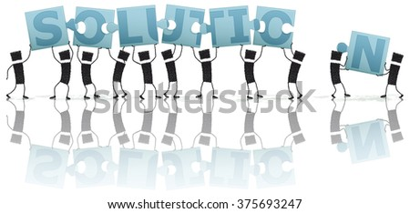 Solving a puzzle, solution. Illustration of a group of people lifting puzzle pieces above their heads. To piece together the puzzle word reads: solution. EPS10 file. - stock vector