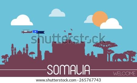 Somalia city skyline silhouette flat design vector illustration - stock vector